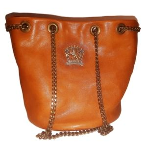 *New Pratesi Cognac Italian Leather Bucket Bag